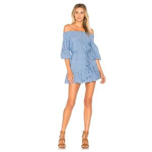Tularosa Maida Ruffle Off Shoulder Dress Striped